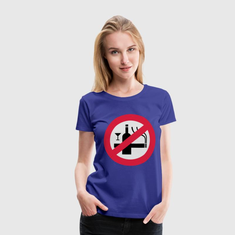 Funny NO Smoking Alcohol Sign T-Shirts - Women's Premium T-Shirt