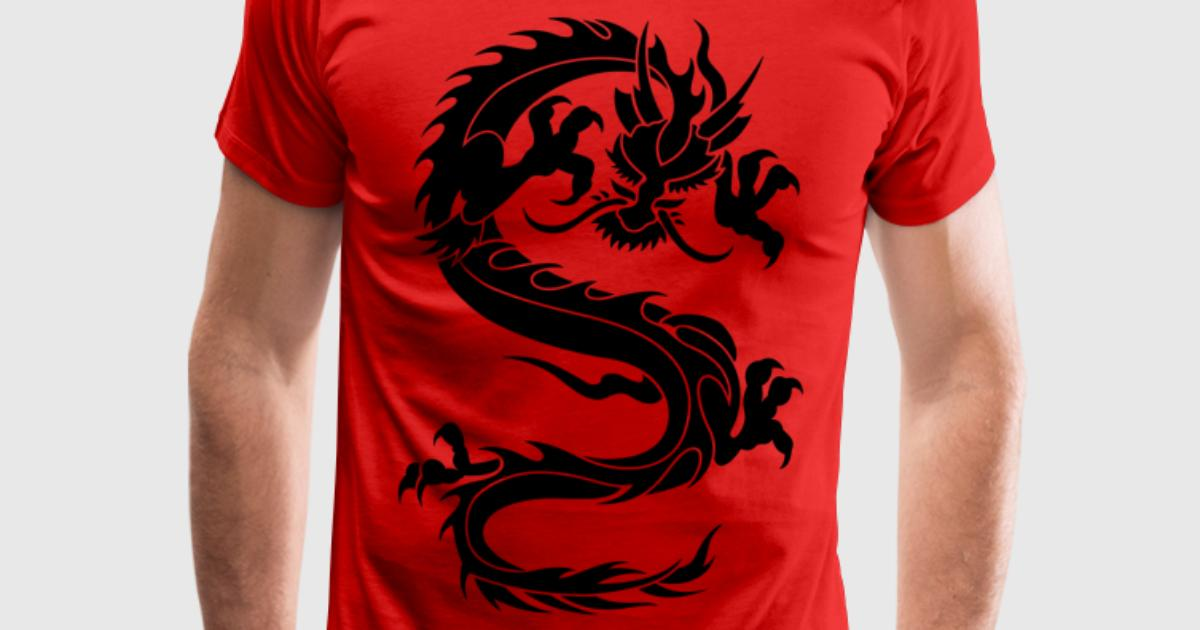 Chinese dragon tribal t shirt spreadshirt for One color t shirt design inspiration