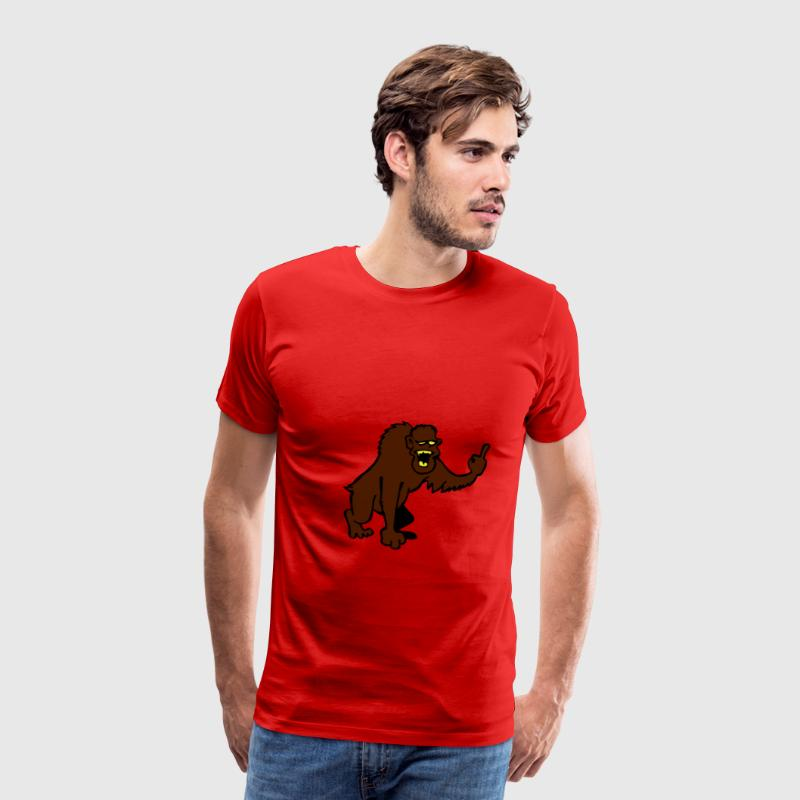 Monkey showing middle finger - Men's Premium T-Shirt