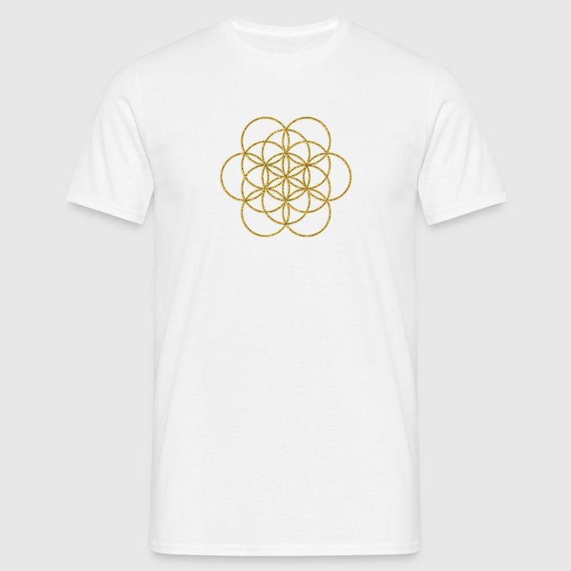 Feel the Harmony! EGG OF LIFE, digital, gold, sacred geometry, energy, symbol, powerful, icon, T-Shirts - Men's T-Shirt
