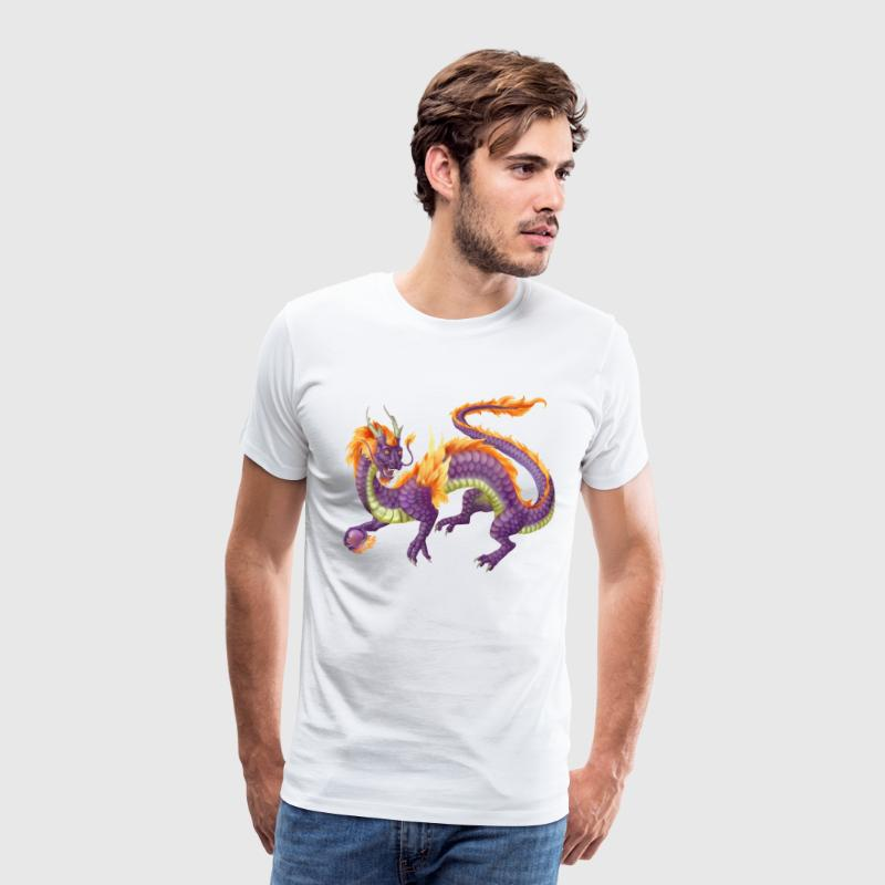 purple chinese dragon - Herre premium T-shirt