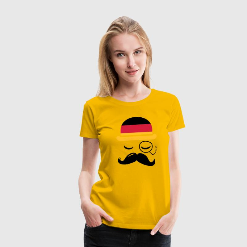 Germany fashionable retro iconic gentleman with flag and Moustache | sports | olympics | football |  T-Shirts - Women's Premium T-Shirt
