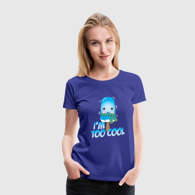 Funny too cool slogan cute vintage ice cream character with hat and scarf for hot sunny summer or freezing cold fall winter snow weather t-shirts for geek kids  T-Shirts - Women's Premium T-Shirt