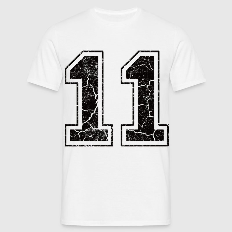 Nummer 11 met Used Look T-shirts - Mannen T-shirt