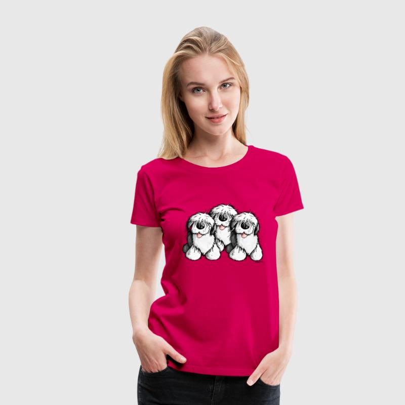 Bobtail chien- Old English Sheepdog - dessin animé Tee shirts - T-shirt Premium Femme