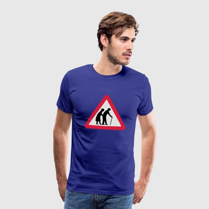 Caution Old People Crossing Traffic Sign T-Shirts - Men's Premium T-Shirt