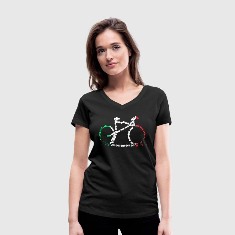 Italian Bike Chain T-Shirts - Women's Organic V-Neck T-Shirt by Stanley & Stella