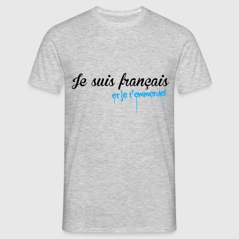 t shirt t shirt gris c homme humour je suis fran ais et j. Black Bedroom Furniture Sets. Home Design Ideas