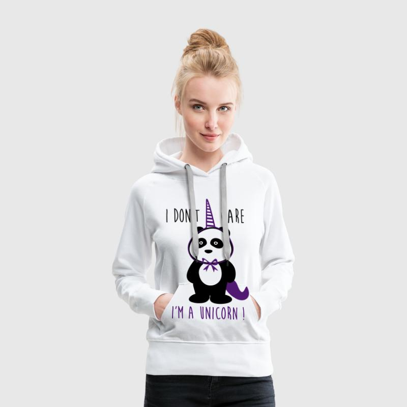 I don't care i'm a unicorn - divertenti - Felpa con cappuccio premium da donna
