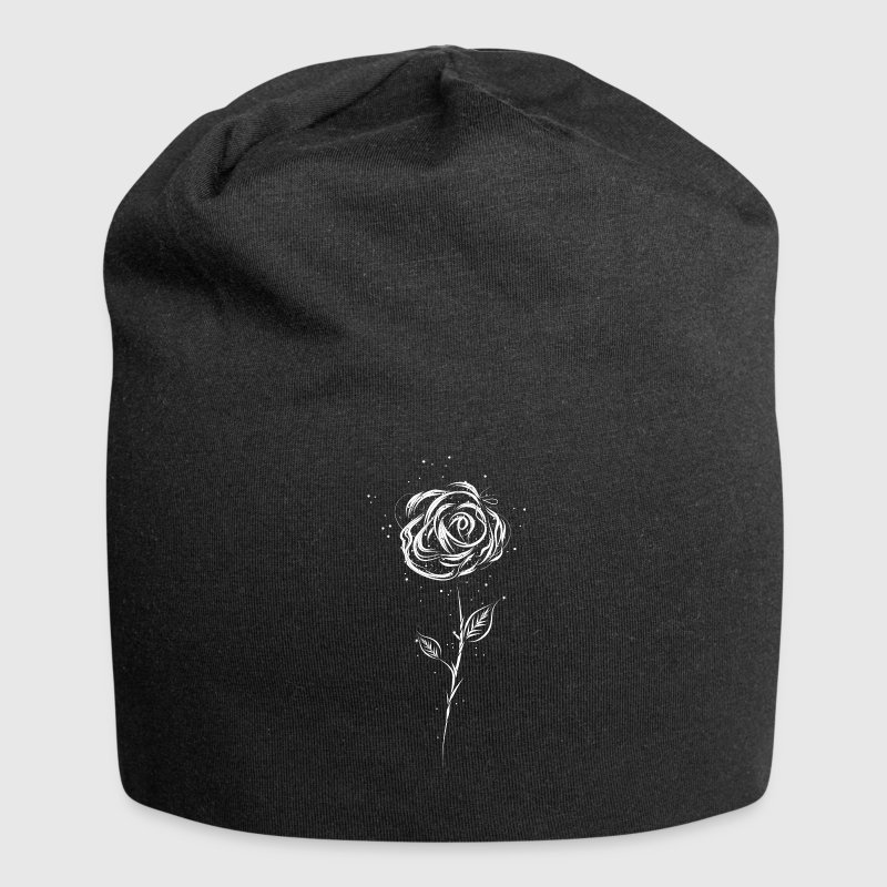Drawing of a white rose Caps & Hats - Jersey Beanie