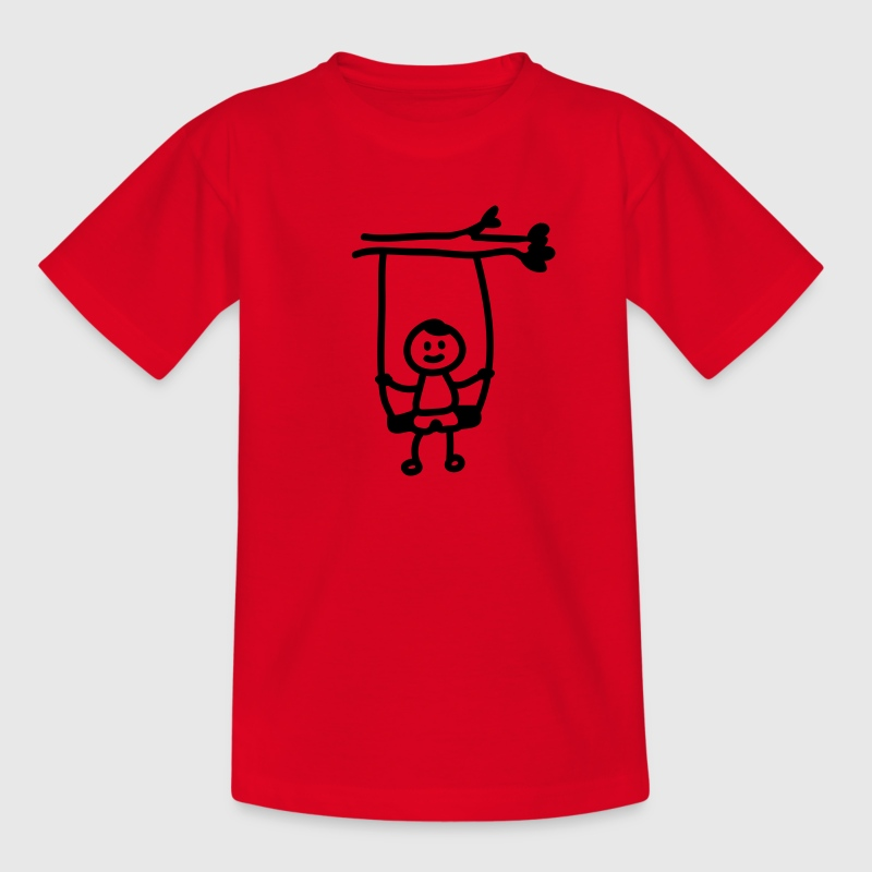 Rot Kind Schaukel - Line Kinder T-Shirts - Teenager T-Shirt