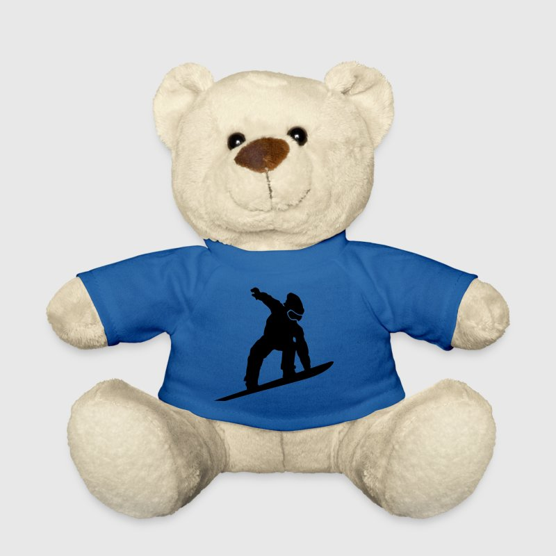 Royal blue Snowboarder Silhouette Teddies - Teddy Bear