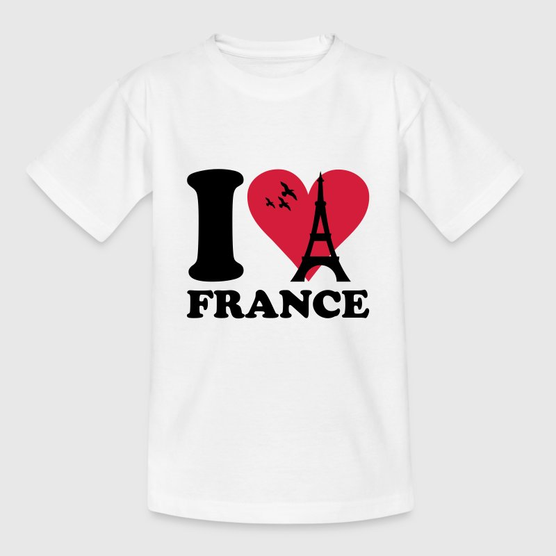 White I love France Kids' Shirts - Teenage T-shirt