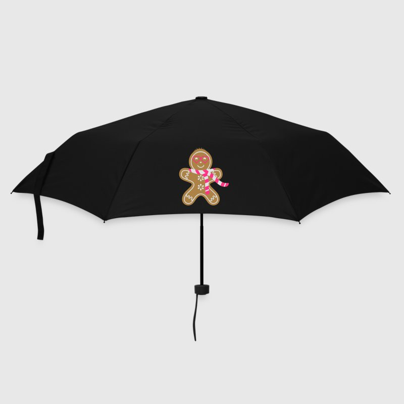 Gingerbread man with heart glasses and scarf Umbrellas - Umbrella (small)