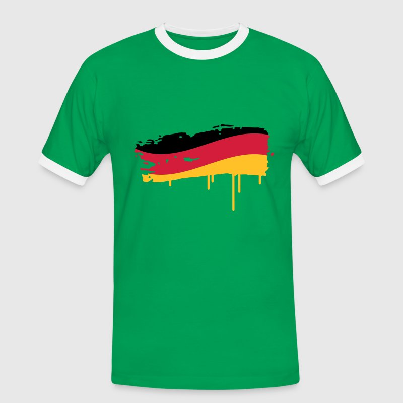Germany flag painted with a brush stroke T-Shirts - Men's Ringer Shirt