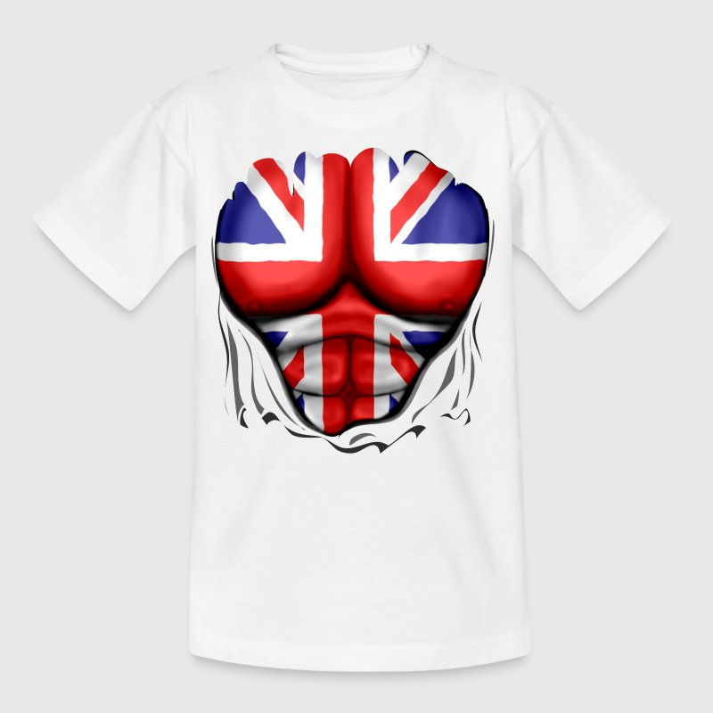 UK Flag Ripped Muscles, six pack, chest t-shirt - Teenage T-shirt