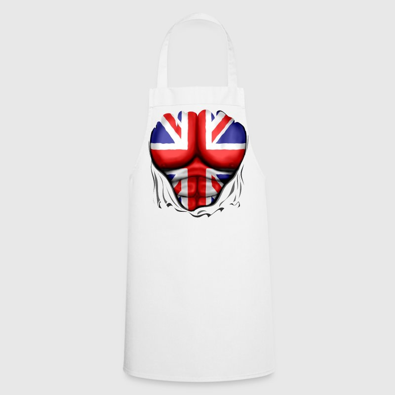 UK Flag Ripped Muscles, six pack, chest apron - Cooking Apron