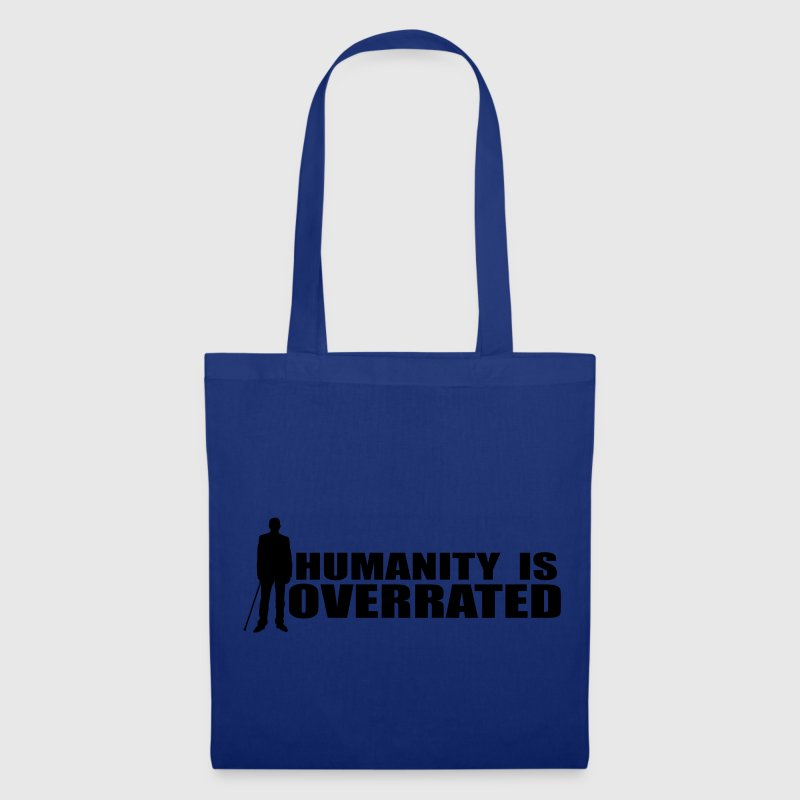 Dr. House Hummanity is overrated Stofftasche royalblue, Motiv weiß - Stoffbeutel