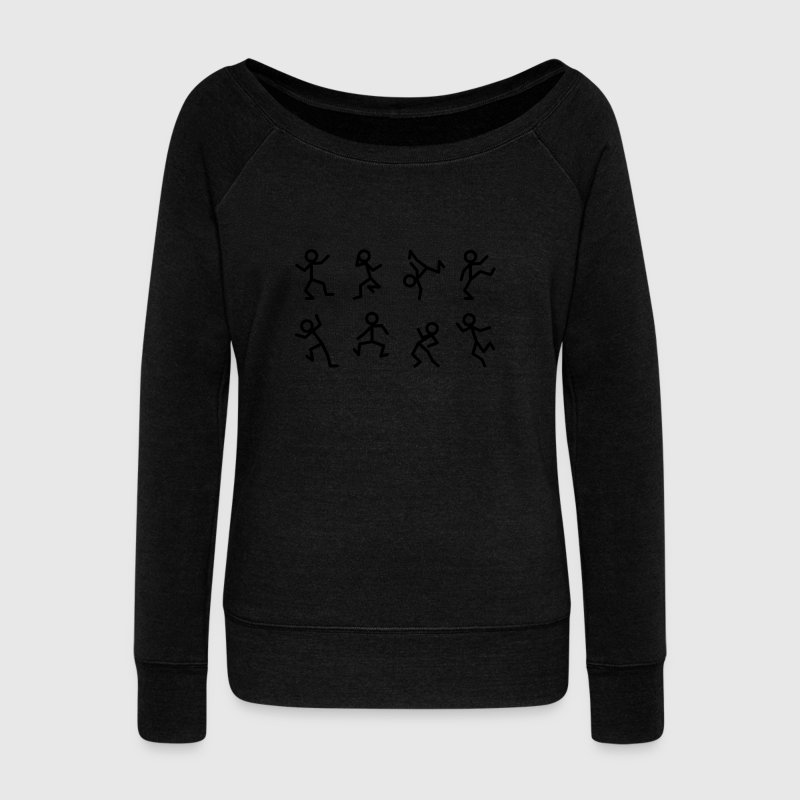 Dancing stick figure Hoodies & Sweatshirts - Women's Boat Neck Long Sleeve Top