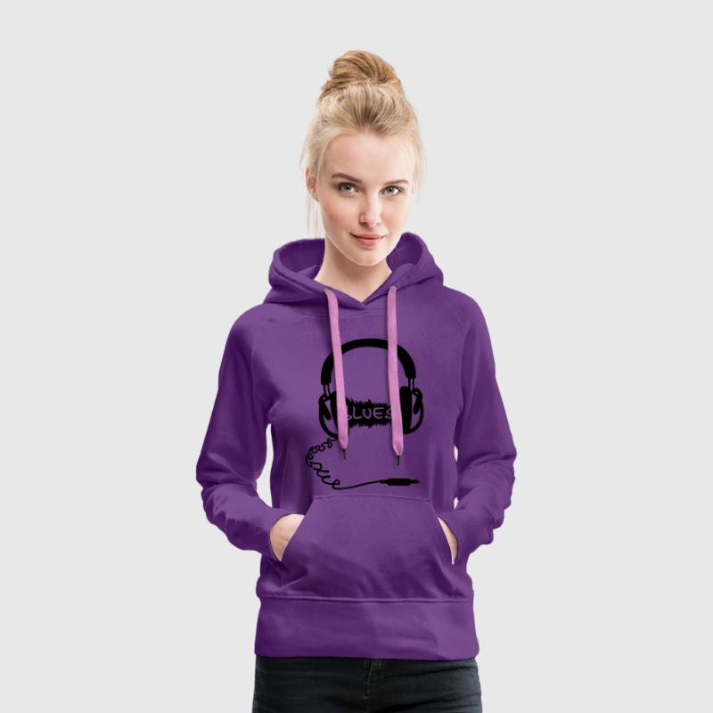 Headphones Audio Wave motif: blues music, audiophile  Hoodies & Sweatshirts - Women's Premium Hoodie