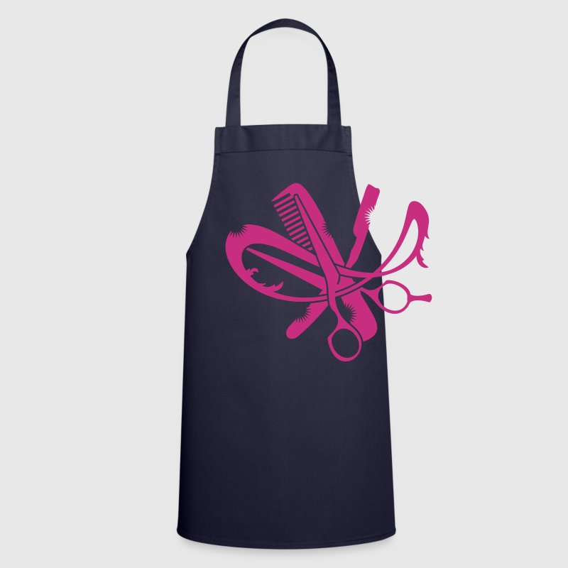 A hairdresser logo with comb, scissors and a razor  Aprons - Cooking Apron