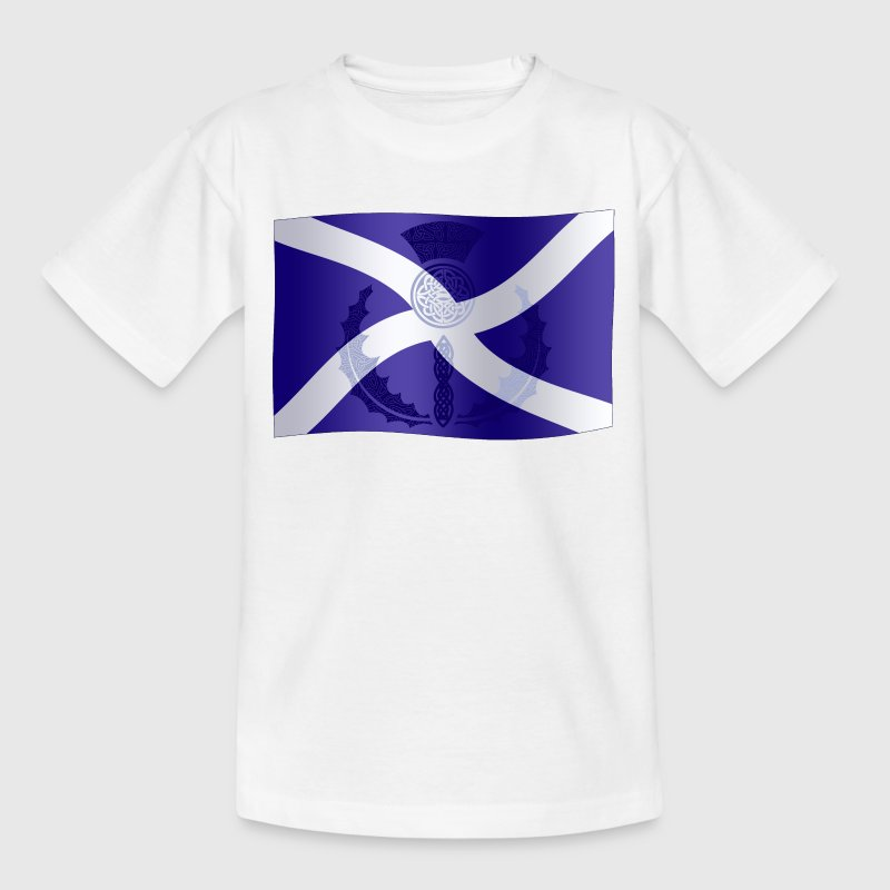 Scottish Saltire Flag with Celtic Thistle - Teenage T-shirt