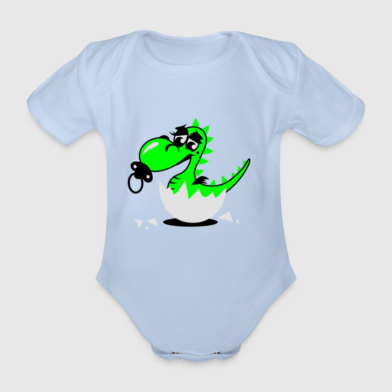 A small dragon baby with pacifier Baby Bodysuits - Organic Short-sleeved Baby Bodysuit