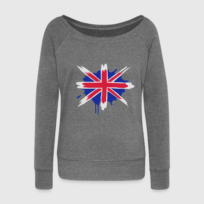 A painted English flag Hoodies & Sweatshirts - Women's Boat Neck Long Sleeve Top