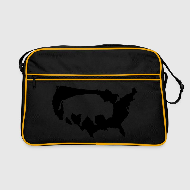 Tasche Buffalo Bill usa amerika büffel bison – Motiv glitzert gold - Retro Tasche
