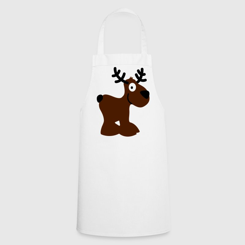 cute moose caribou reindeer deer christmas norway rudolph rudolf winter scandinavia canada smile eyes  Aprons - Cooking Apron