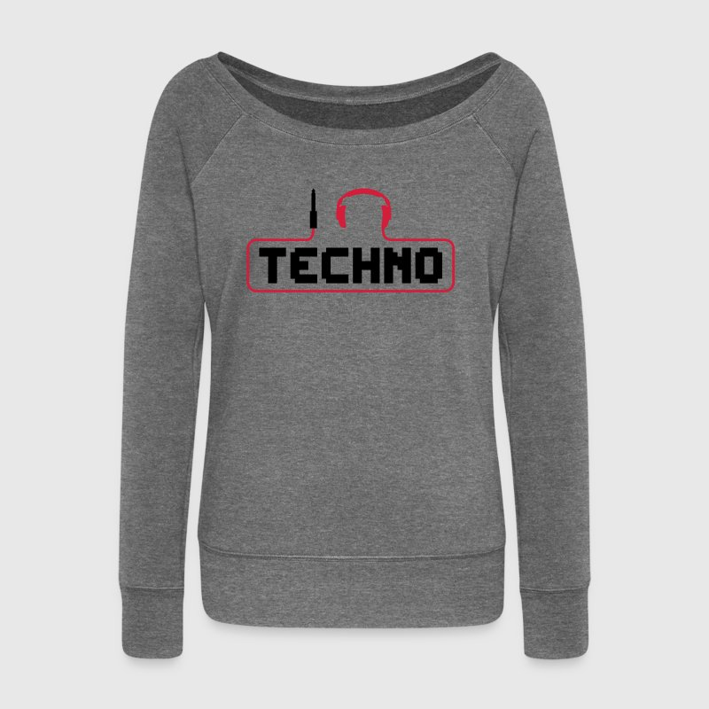 I love techno fiche du casque le son Bass Beat Music Catch câble i love techno minimale club house dance dj electro discjockey électroniques Sweat-shirts - Pull Femme col bateau de Bella