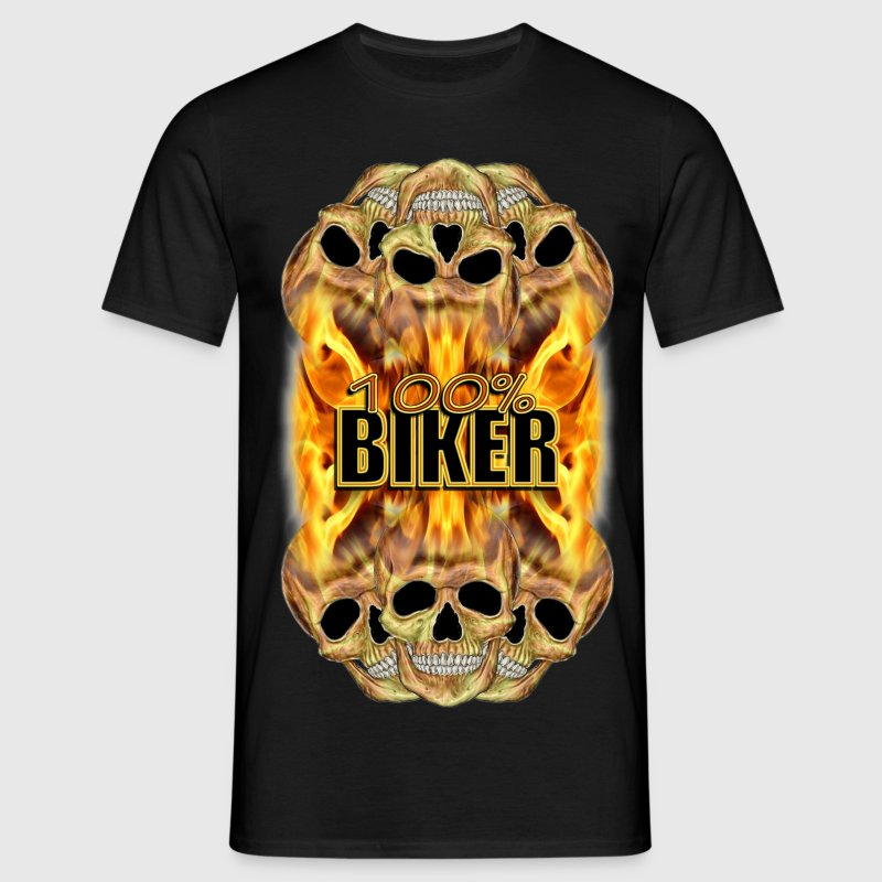 Flaming Skulls 100% Biker T-Shirts - Men's T-Shirt