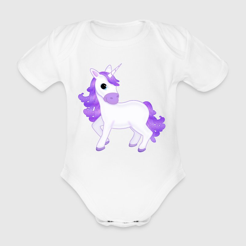 Pretty Purple Unicorn Cartoon Babygrow - Organic Short-sleeved Baby Bodysuit