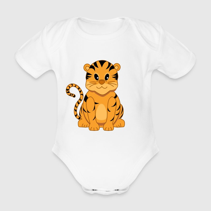 Cute Cartoon Tiger Cub Onepiece Babygrow T-Shirt - Organic Short-sleeved Baby Bodysuit