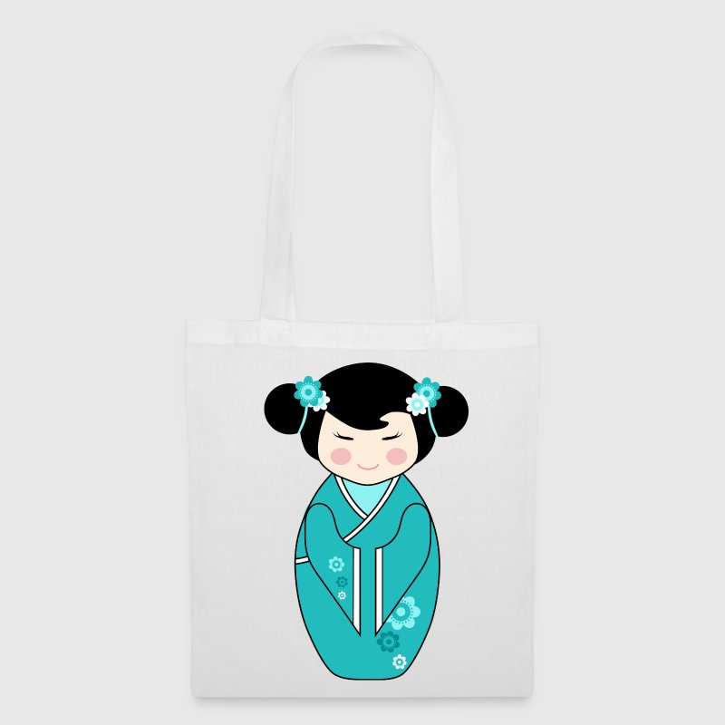 Single Sided Cute Kokeshi Doll Illustration in Blue Tote Bag - Tote Bag