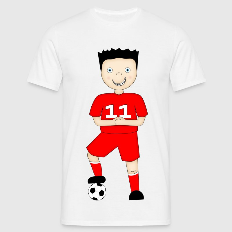 Cartoon Football Player in Red Strip - Men's T-Shirt - Men's T-Shirt