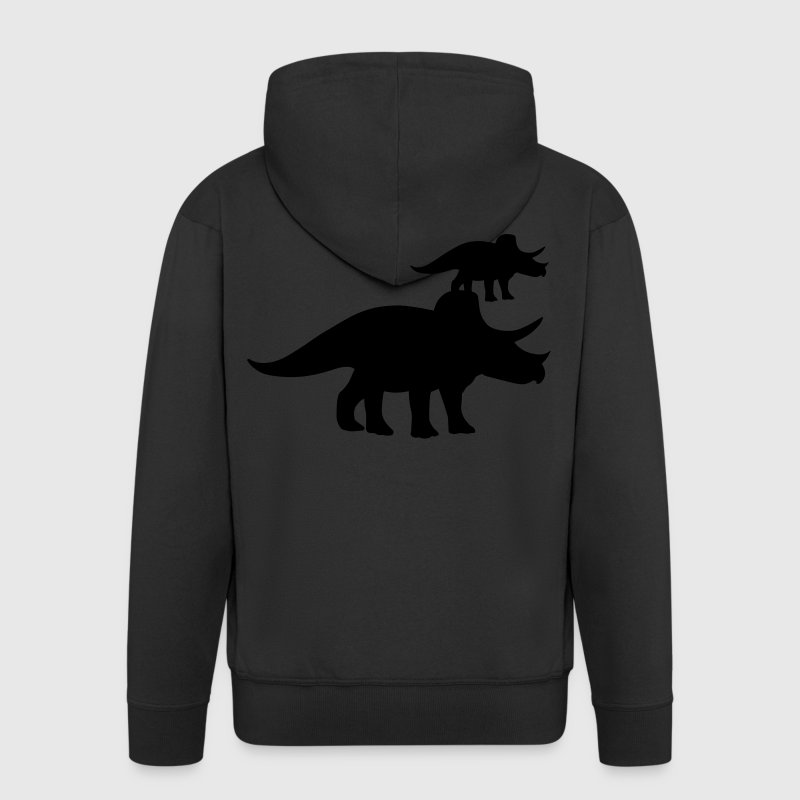 Triceratops Dinosaur Coats & Jackets - Men's Premium Hooded Jacket