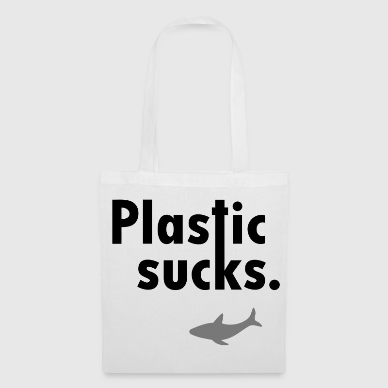 Plastic sucks ** Shark conservation Vegetarian Bags & backpacks - Tote Bag
