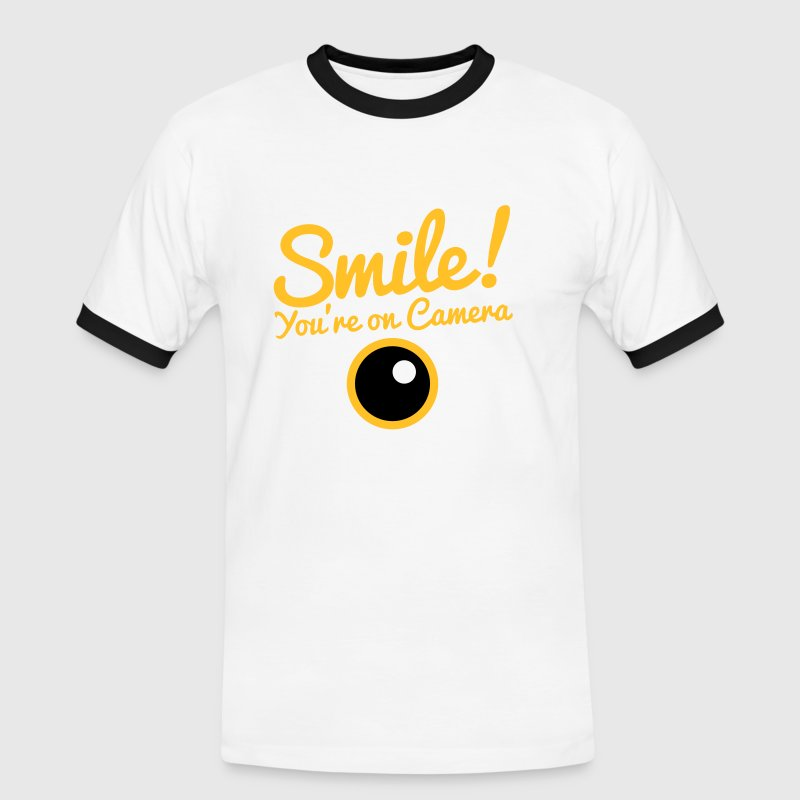 smile!  you're on camera with a camera lens T-Shirts - Men's Ringer Shirt