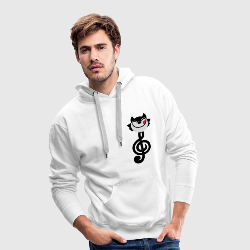 Clé de Sol en forme de chat cartoon par Cheerful Madness!! Sweat-shirts - Sweat-shirt à capuche Premium pour hommes