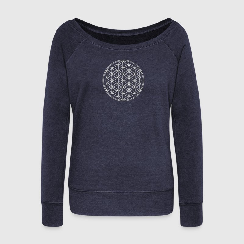 Flower of Life, Sacred Geometry, Spiritual Healing Symbol T-Shirts - Women's Boat Neck Long Sleeve Top