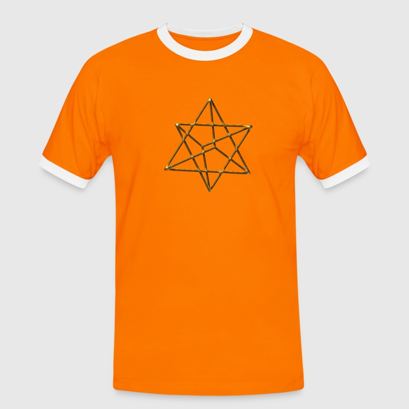 Merkaba, 3D, gold, divine light vehicle, sacred geometry, star tetrahedron, flower of life T-Shirts - Men's Ringer Shirt
