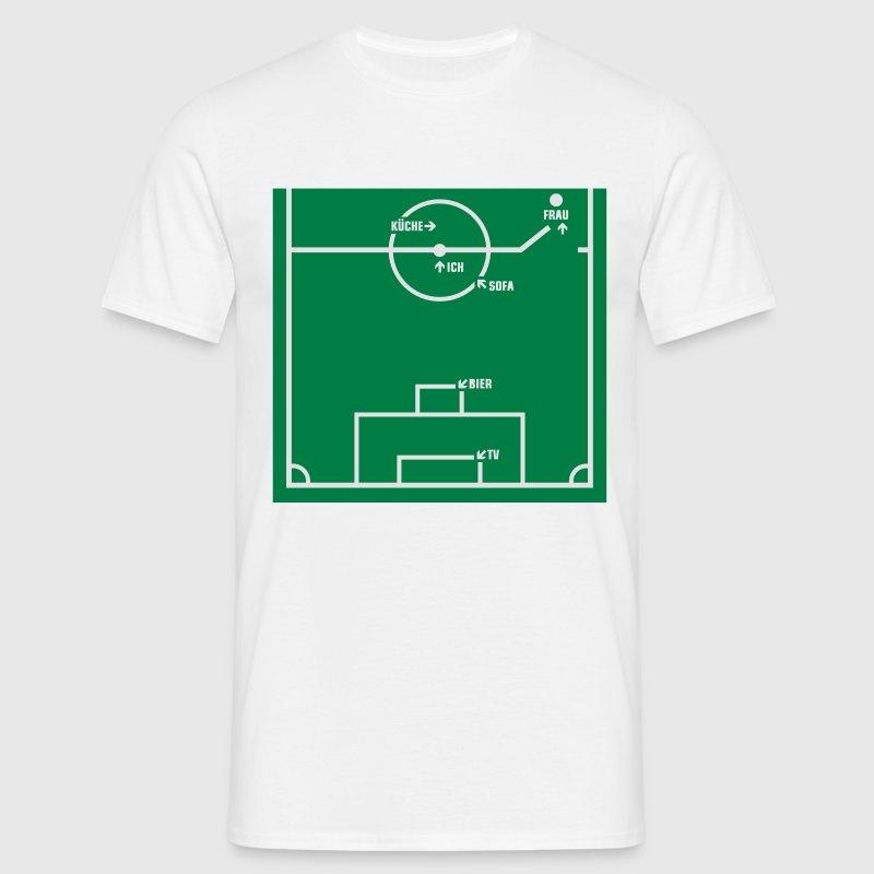 fussballfeld fu ball m nnersport lustig m nner t shirt. Black Bedroom Furniture Sets. Home Design Ideas