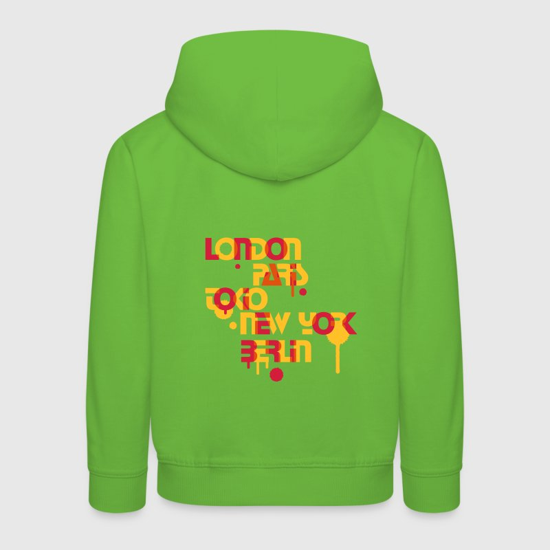 six cities, London, Paris, Tokyo, New York, Berlin, Kids' Tops - Kids' Premium Hoodie