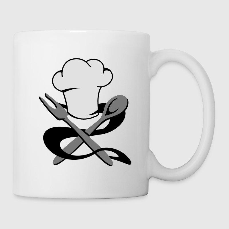 tasse une toque de cuisinier avec une cuill re en bois et une fourchette spreadshirt. Black Bedroom Furniture Sets. Home Design Ideas