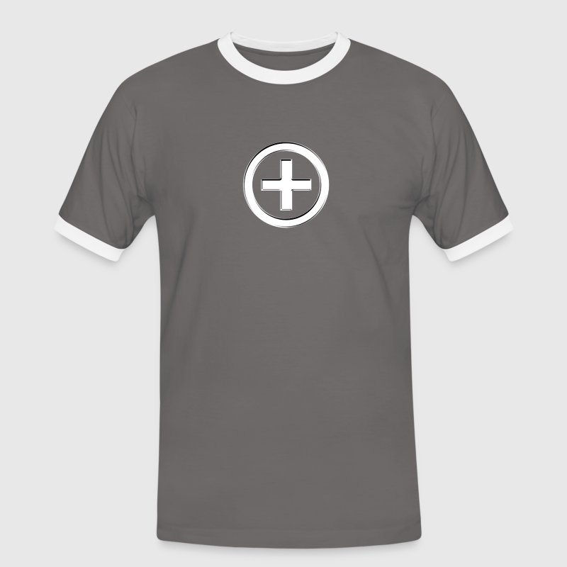 POSITIVE!  Energy Symbol, silver, digital, symbol, symbols, powerful, sign, icon T-Shirts - Männer Kontrast-T-Shirt