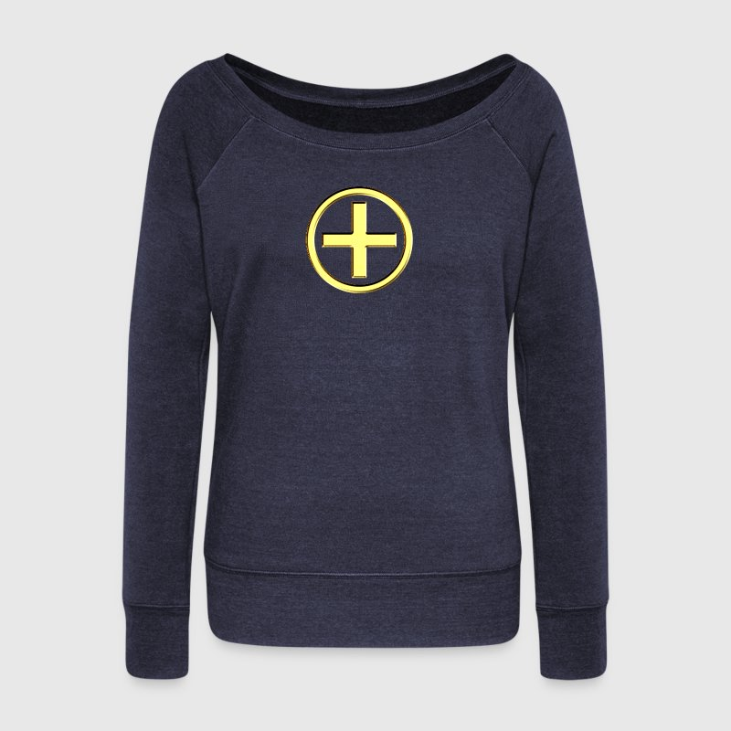 POSITIVE! Energy Symbol, gold, digital, symbol, symbols, powerful, force, sign, icon Hoodies & Sweatshirts - Women's Boat Neck Long Sleeve Top