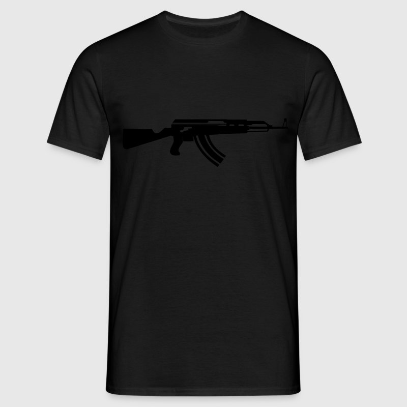 AK 47 Assault rifle white on black t-shirt - Men's T-Shirt