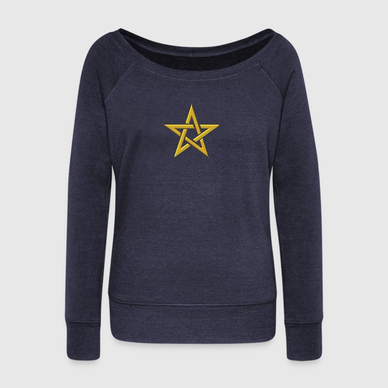 Star of the Magi - Pentagram - Sign of intellectual omnipotence and autocracy. gold, Blazing Star, powerful symbol of protection Hoodies & Sweatshirts - Women's Boat Neck Long Sleeve Top