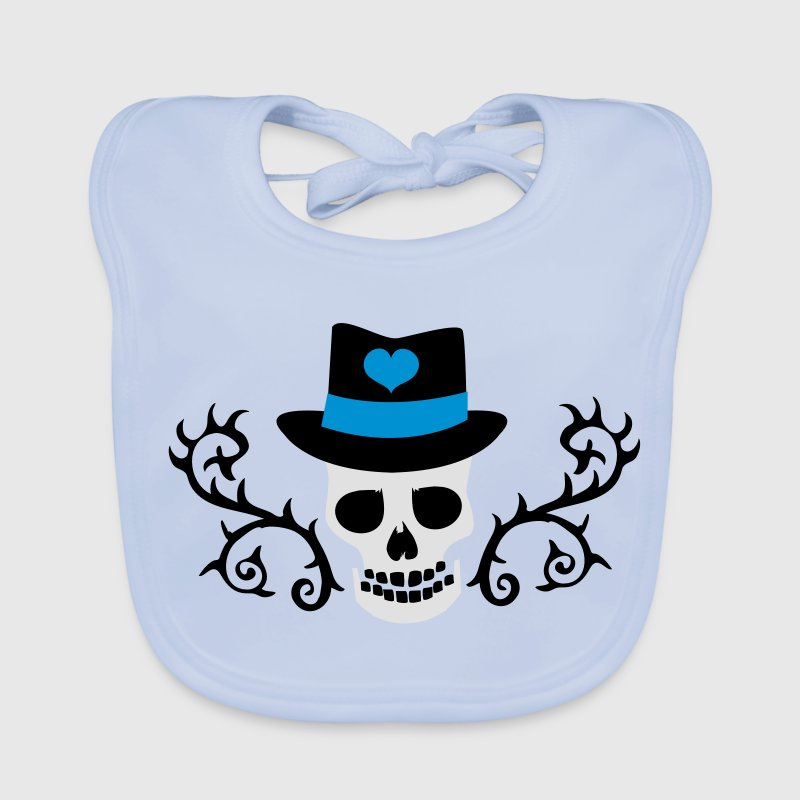 creepy skull with a top hat and tattoo thorns Accessories - Baby Organic Bib
